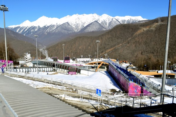 The Sanki Sliding Center sits among the mountain peaks of the Caucasus