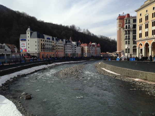 Rosa Khutor is divided by a river that makes the area all the more picturesque