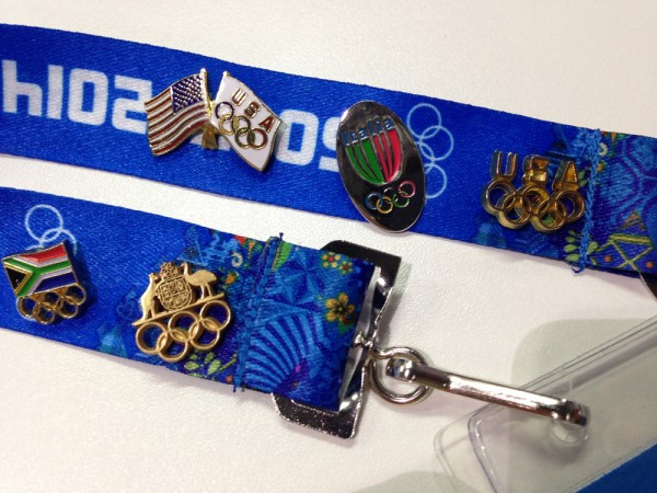 NOC pins displayed proudly on my Olympic accreditation strap