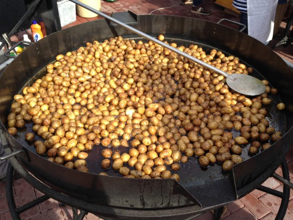 Potatoes roasting in a giant pot is just one of the examples of Rosa Khutor's abundant street food
