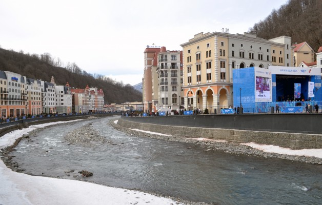 Rosa Khutor as taken from one of the many bridges that cross over the river