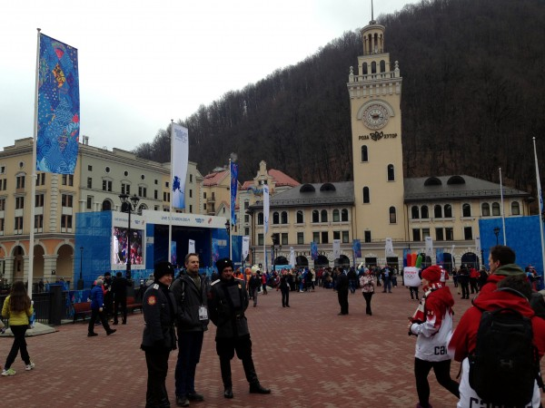 Rosa Square and its clock-tower mark the center of Rosa Khutor and the hub of activity