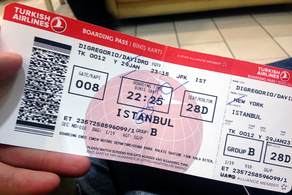 Turkish Airlines Boarding Card Style Hi Club