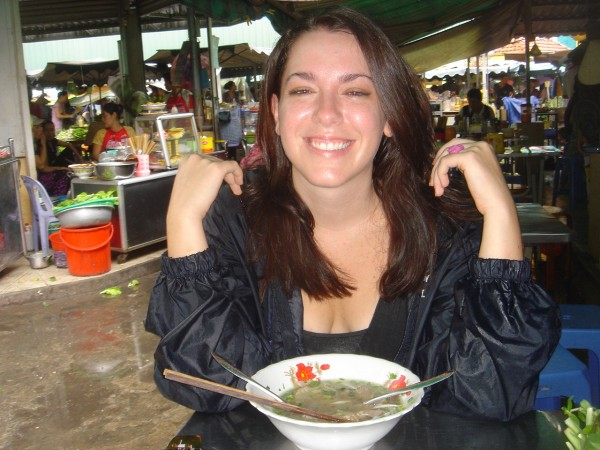 Chandra enjoys Pho in Saigon in 2007