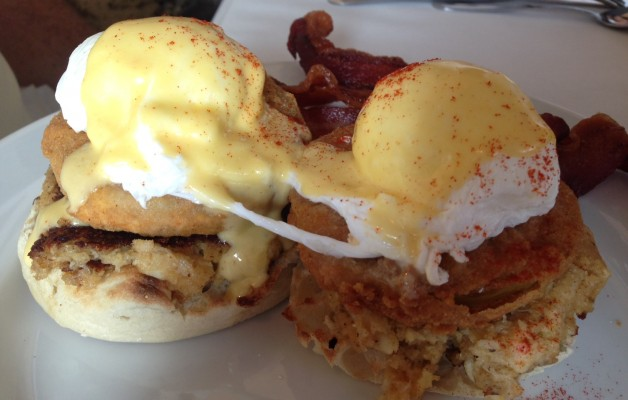 While we're on breakfast, get a load of these poached eggs. What's that they're sitting on? Fried green tomatoes. Wait, what's under the tomatoes? Crab cakes! Yes. Really. This is also from Huey's on River Street.