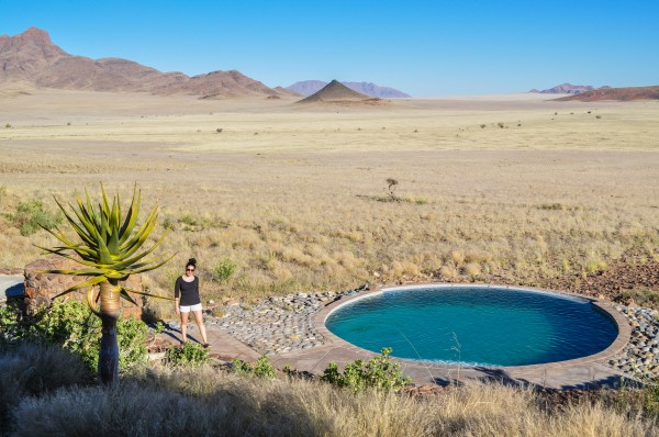 Chandra's presence in this photo gives you a sense of just how unending the desert is and how remote we are. The pool sure looks inviting.