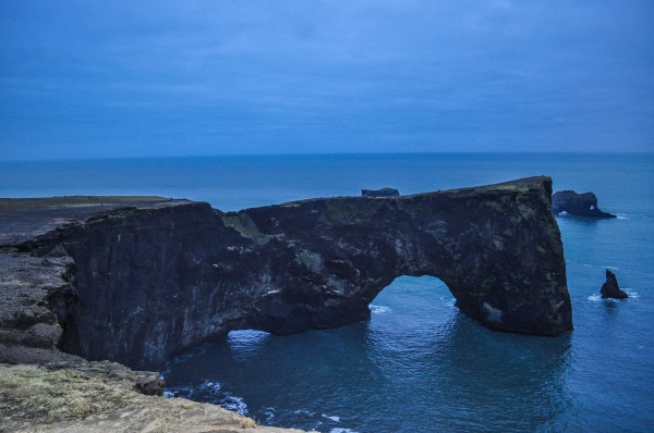 The natural arch at  Dyrholaey at twilight