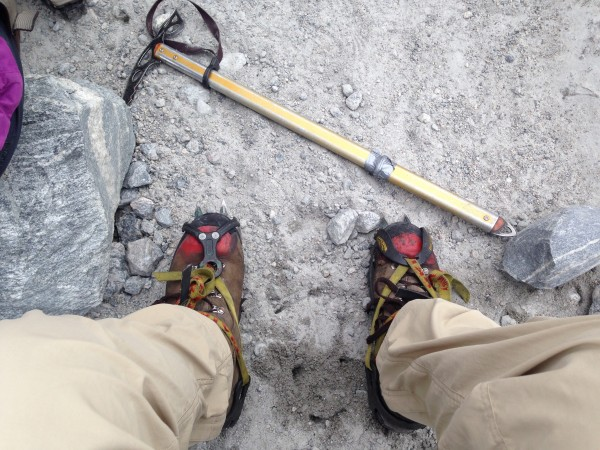Sturdy boots, crampons and an ice axe are all required gear for trekking the Nigardsbreen glacier.