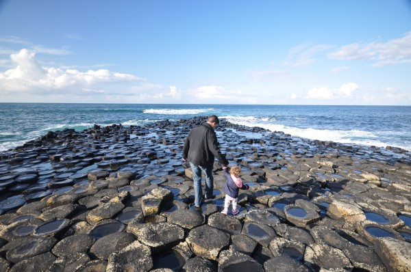 Walking with my daughter on the Giant's Causeway.