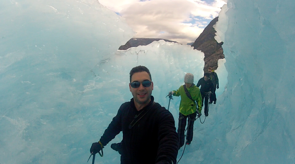 Ice caves can be a lot of fun but without your crampons you couldn't even stand up on the curved floor.