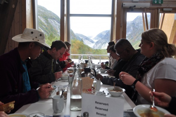 Having lunch at the glacier centre before setting off on our trek. You can see the glacier out the window.