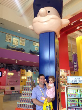 Look how happy my daughter is to visit the place where something she's never heard of comes from!