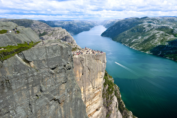 Preikestolen, or Pulpit Rock, is one of the most recognizable spots in Norway and often graces the cover of guidebooks. This image courtesy of Visit Norway.